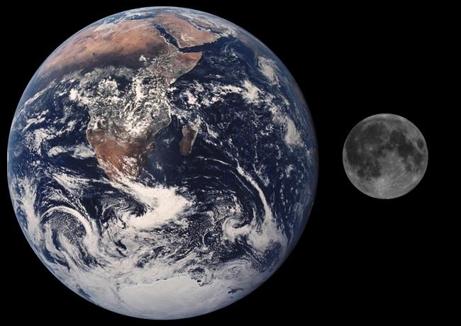 Mărimea Lunii comparată cu a Pământului sursa Wikipedia