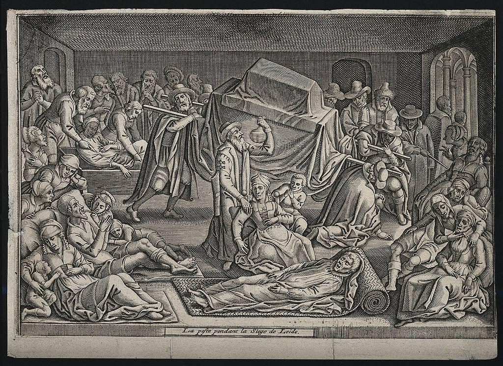 Ciuma în Leiden în 1574. Sursă Wellcome Images, Wikipedia.